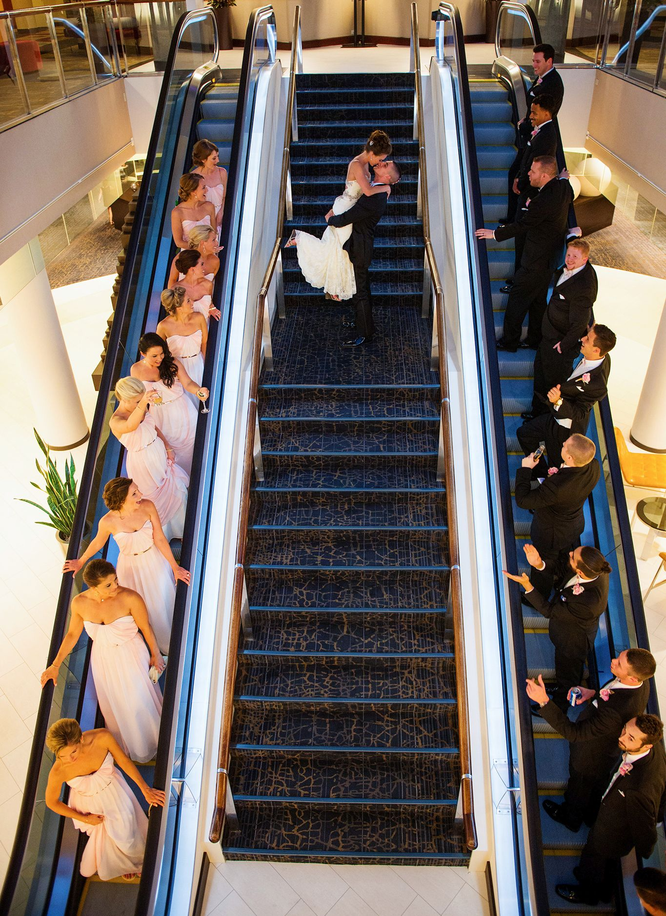 We love this fun way to capture a photograph with your bridal party!