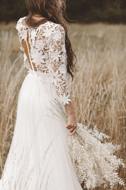 Boho Zweiteiler Brautkleid 11D Spitze Vintage Hochzeitskleid Spitze