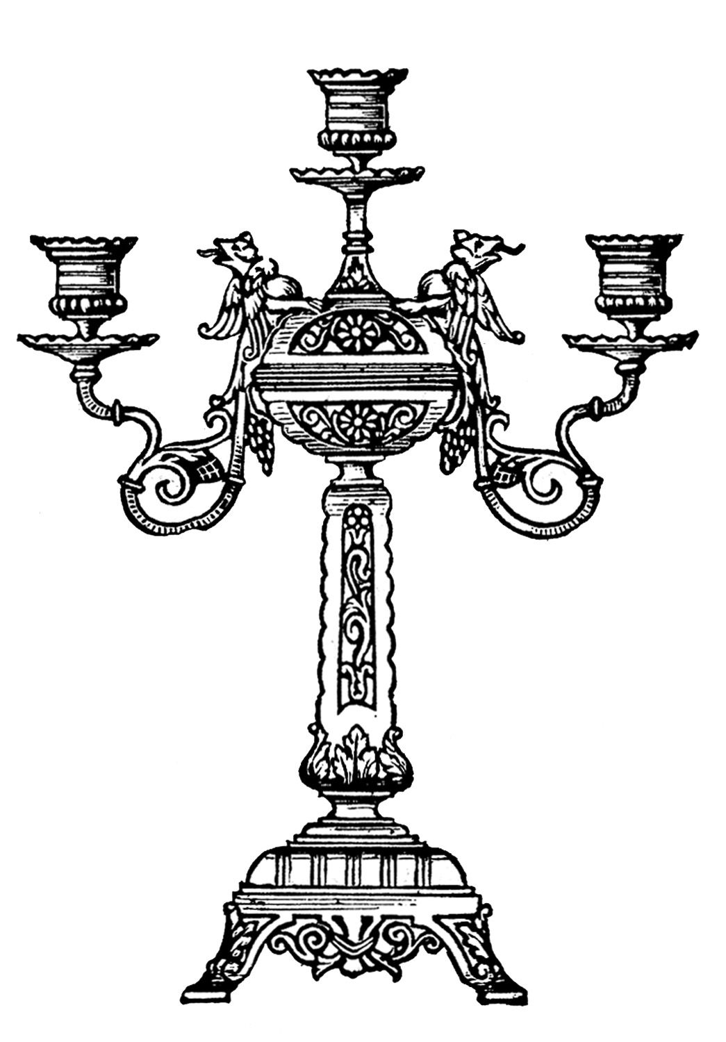 Vintage Clip Art - Ornate Candelabra | Graphics, Graphics fairy ...