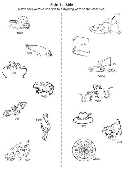 free printable rhymes rhyming words pictures worksheet