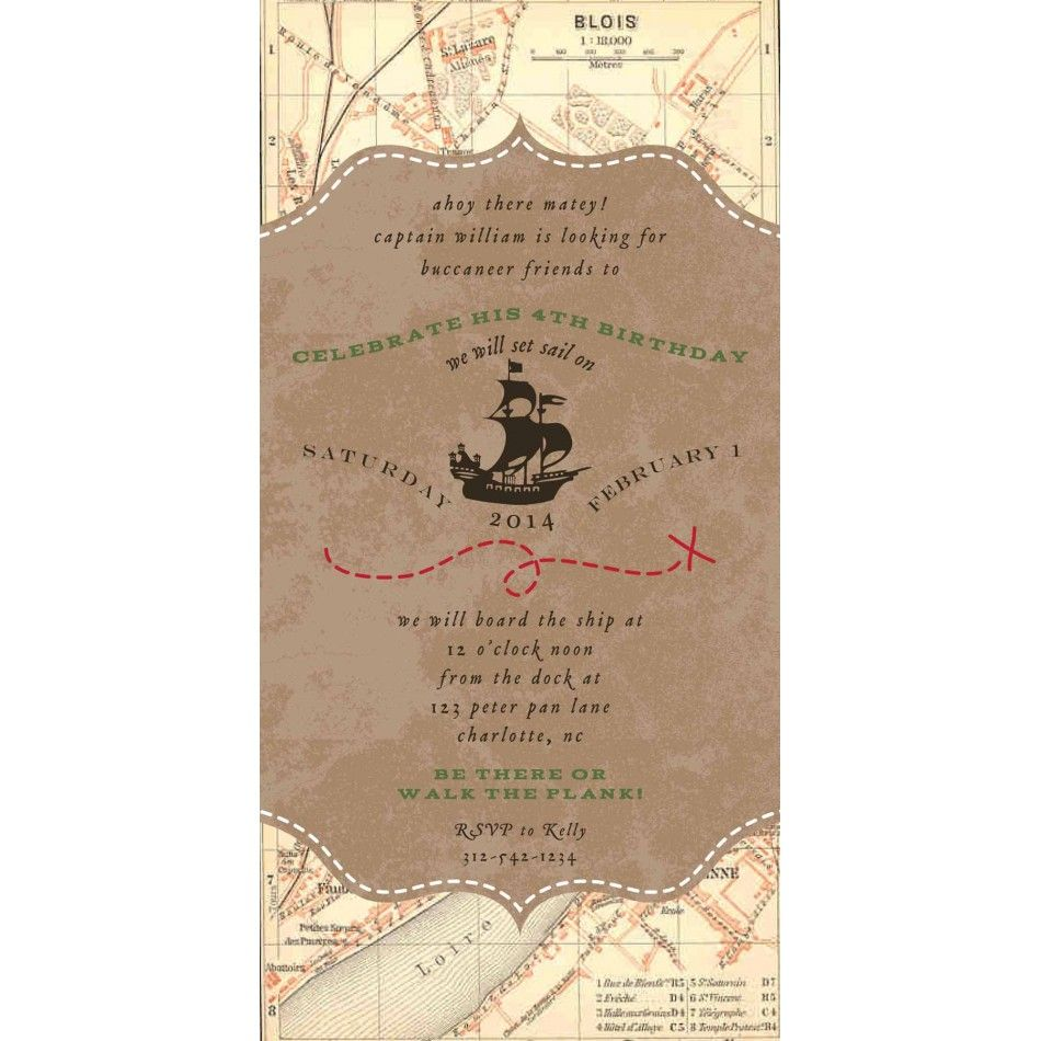 Vintage Pirate Party Treasure Map Birthday Party Printable 4x8 ...