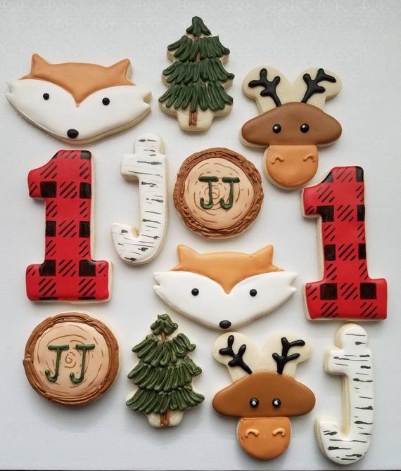 Lumberjack first birthday, fox first birthday, lumberjack sugar cookies, woodland 1st birthday, lumberjack 1st birthday