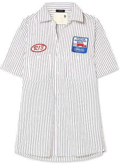 9e3fd0c783ea R13 - Appliquéd striped cotton-poplin shirt Navy Blue Shirts, Navy Tops,  White