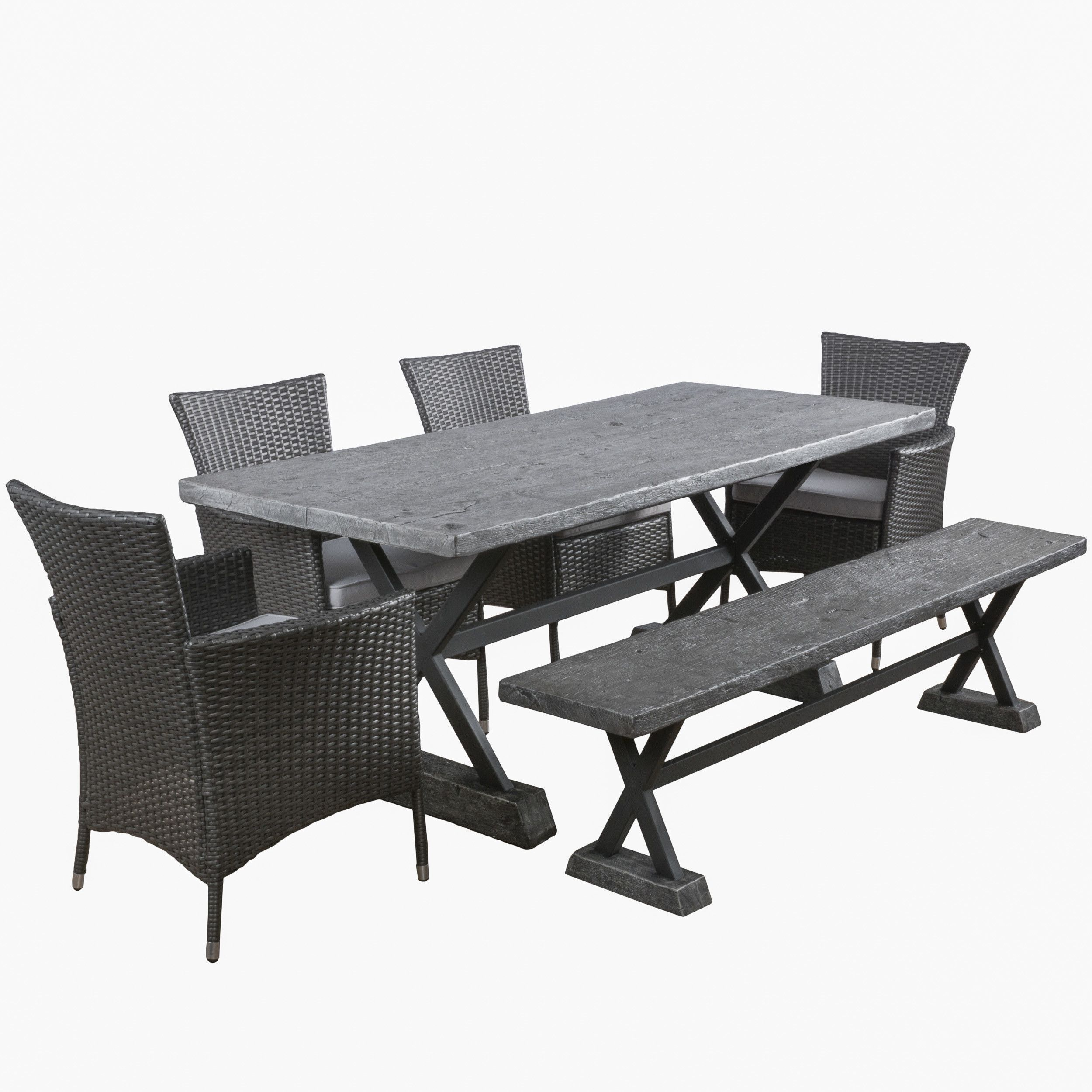 Blagnac 6 Piece Dining Set With Cushions Dining Set With Bench Patio Furniture Sets Outdoor Dining Set
