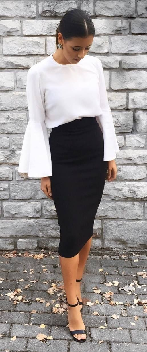 98b2e23b6cae White Bell Sleeves & Black Pencil skirt. | Timeless Style in 2019 ...