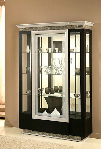 Gl Display Cabinet Lavamar Crystal Stone Deco Wenge Modern Retro Unit Centurion