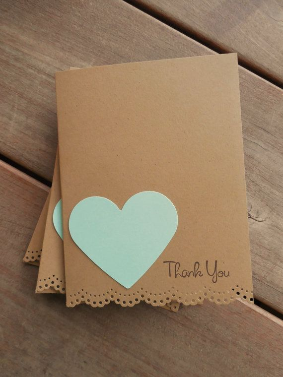 Mint Heart Card-Lace Edge Thank You Cards -Rustic Thank You Card ...