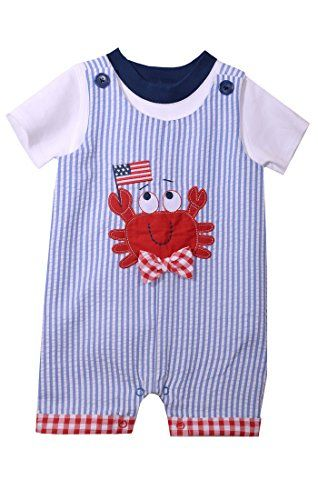 Bonnie Baby Matts Scooter Seersucker Crab 2pc Short Set 24 Month
