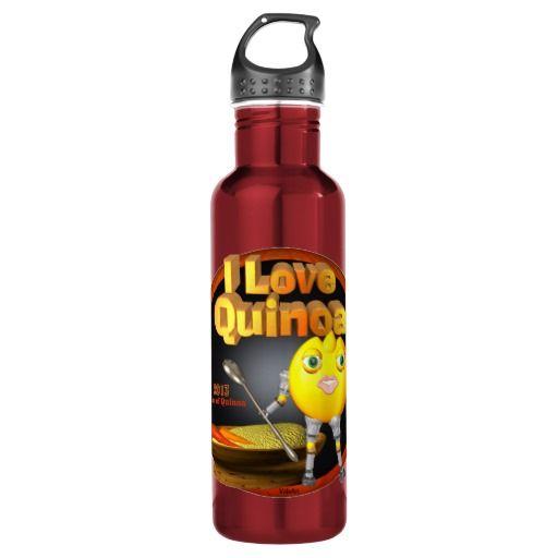 I Love Quinoa on many 24oz Water Bottle $29.95