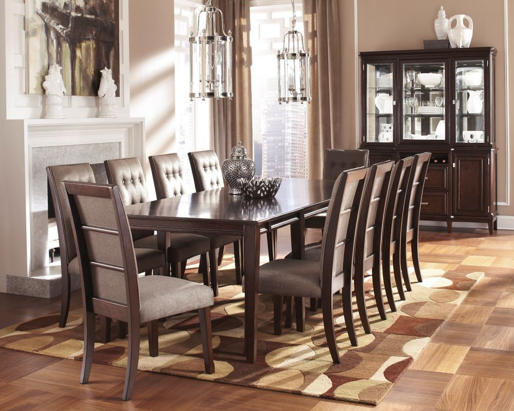 New Ashley Larimer 11 Piece Rectangular Ext Dining Table Set D654 Contemporary Dining Table Design Dining Room Design Farmhouse Dining Room Table