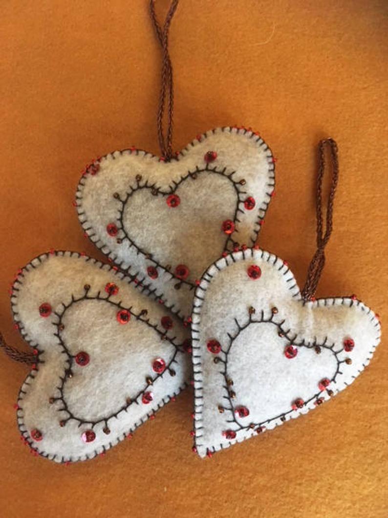 Elegant Felt Heart Ornament Gift Decoration Etsy Felt Hearts Crafts Heart Ornament Felt Crafts Christmas