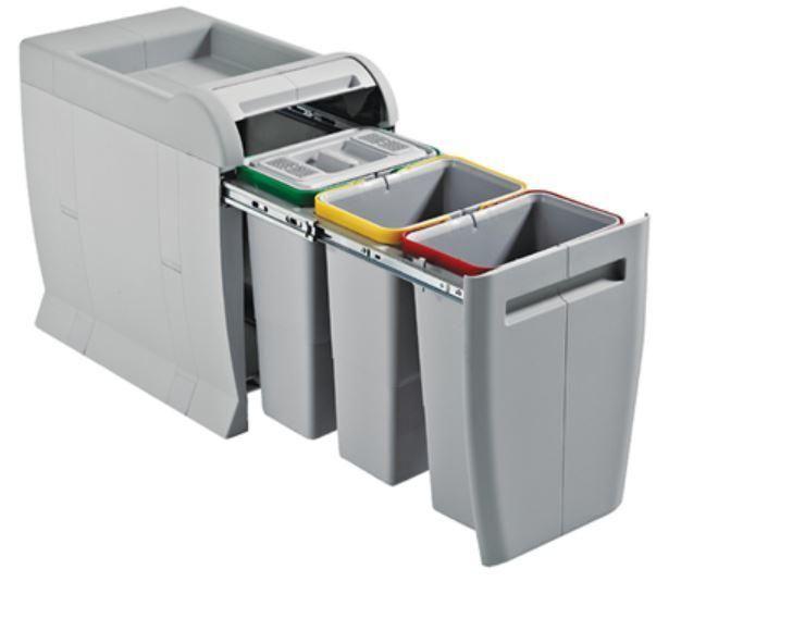 pattumiera ecologica mod city 3045c estraibile in plastica con 3 secchi da 8 litri cad filtro