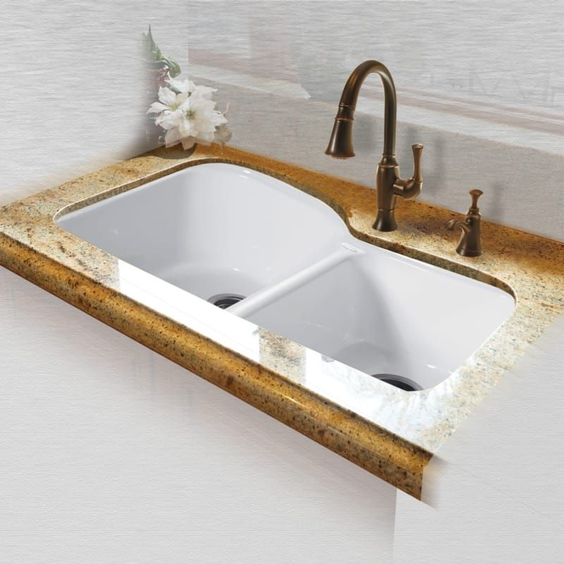 Miseno Mci68 4um 33 Double Basin Undermount Cast Iron Kitchen Sink White Fixture Kitchen Sink Cast Iron Cast Iron Kitchen Sinks Sink Kitchen Fixtures