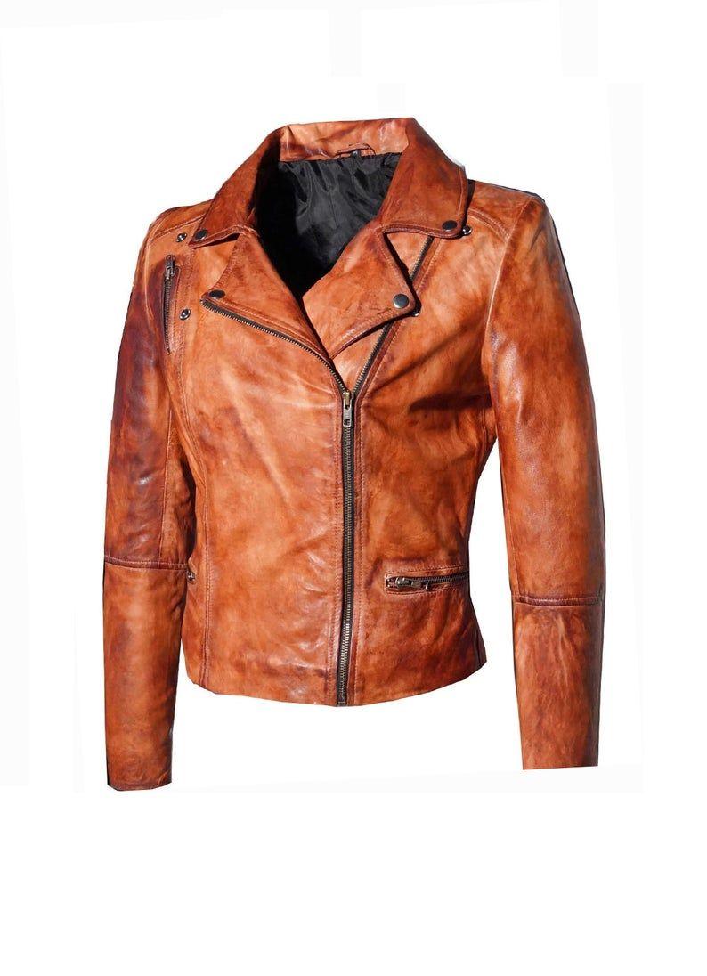 New Handmade Men S Stone Washed Vintage Look Fitted Biker Jacket Fitted Biker Jacket Jackets Biker Jacket [ 1096 x 794 Pixel ]