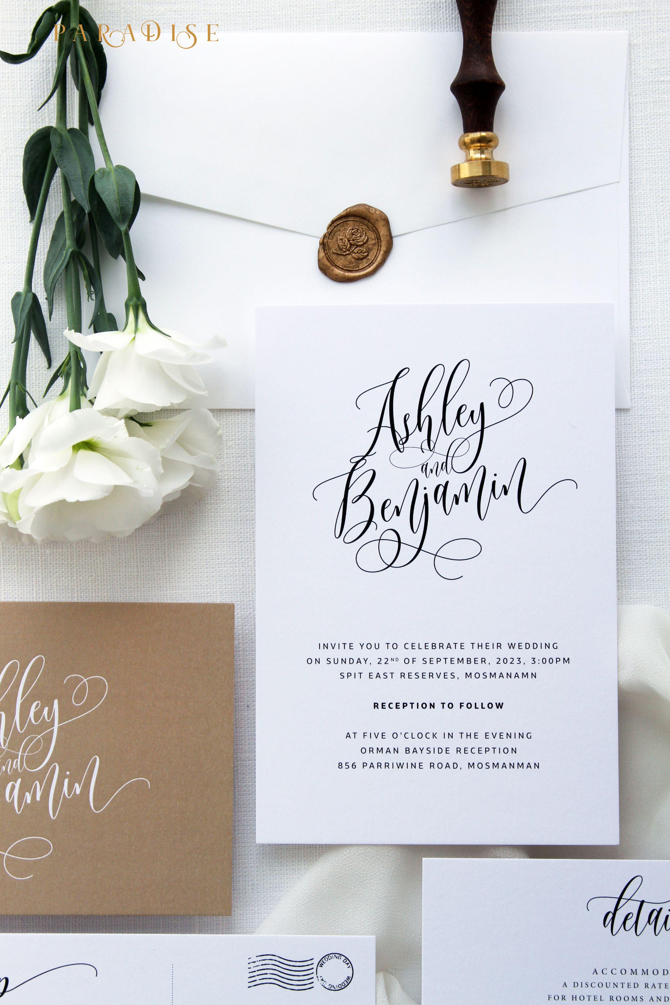 Ashley Gold Wedding Invitation Sets, Calligraphy Wedding Invitations ...