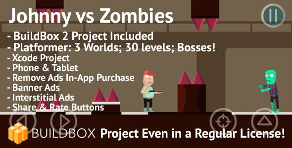 Awesome Johnny Vs Zombies Platformer Ios Buildbox Integrated