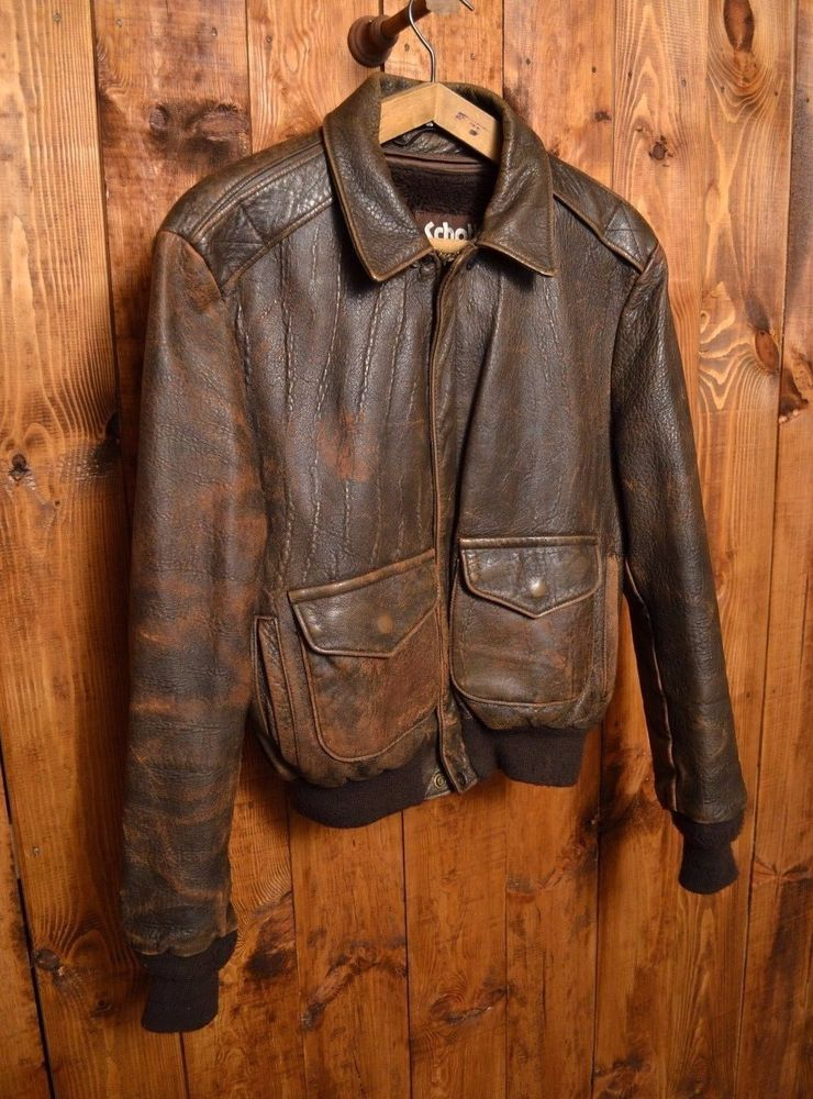 795a00fad6d SCHOTT USA AIR FORCE VINTAGE LEATHER FLIGHT BOMBER PILOT A-2 JACKET SIZE  M-40  Schott  FlightBomber