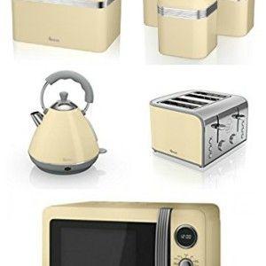 Swan Kitchen Appliance Retro Set – Cream Microwave, 2L Pyramid ...