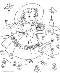 Vintage Easter Dress Coloring Page Spring Outfits Pinterest
