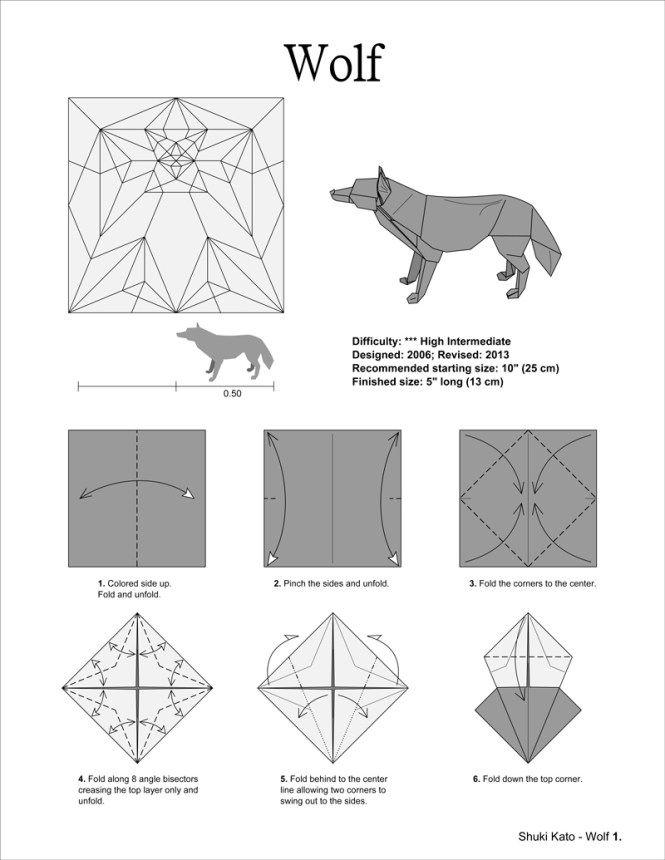 Origami 5 Wolf By Shuki Kato White Washi Deluxe Origami