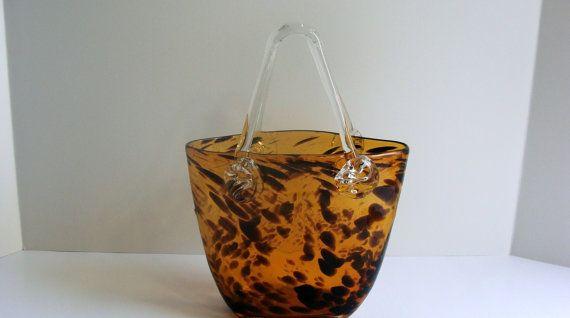 Vintage Leopard Print Glass Purse Vase Hand Blown By Etagerellc