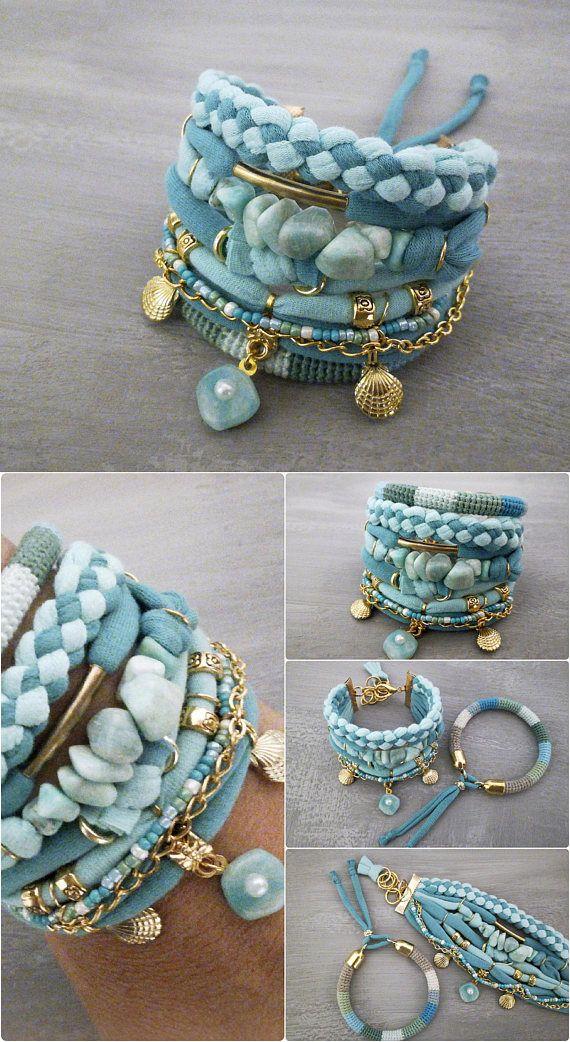 Teal Green Boho Bracelet Set, Seafoam Amazonite Bracelet, Bohemian Jewelry Gypsy Bracelet, Shell Charm Bracelet, Beach Bracelet #crochetbraids