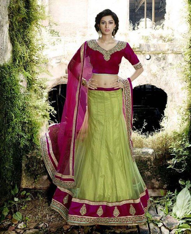 Buy Fascinating Parrot Green & Pink Lehenga Choli online at  https://www.a1designerwear.com/fascinating-parrot-green-pink-lehenga-choli  Price: $57.94 USD