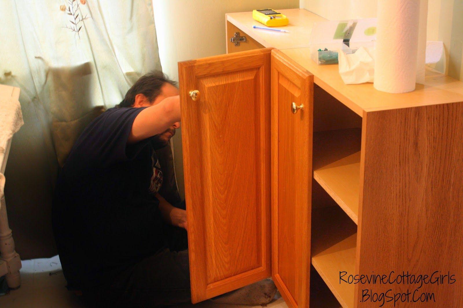 Rosevine Cottage Girls: Installing Cabinets With Mr. Cottage