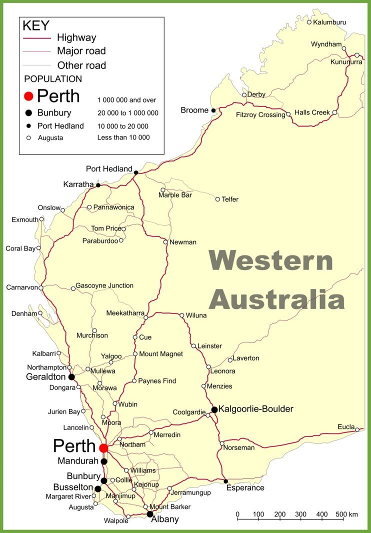 Road map of Western Australia with cities and towns  Maps