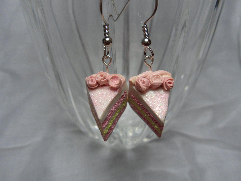 Tiny Pink Lemonade Cake earrings. $7.99, via Etsy.