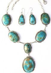 Photo of Indian Kingman Turquoise Sterling Silver Necklace Earrings Set. Signed …., #diysilve …