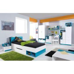 Chambre de la jeunesse complète – Set C Geel, 8 pièces, Steinersteiner blanc / turquoise  – Products