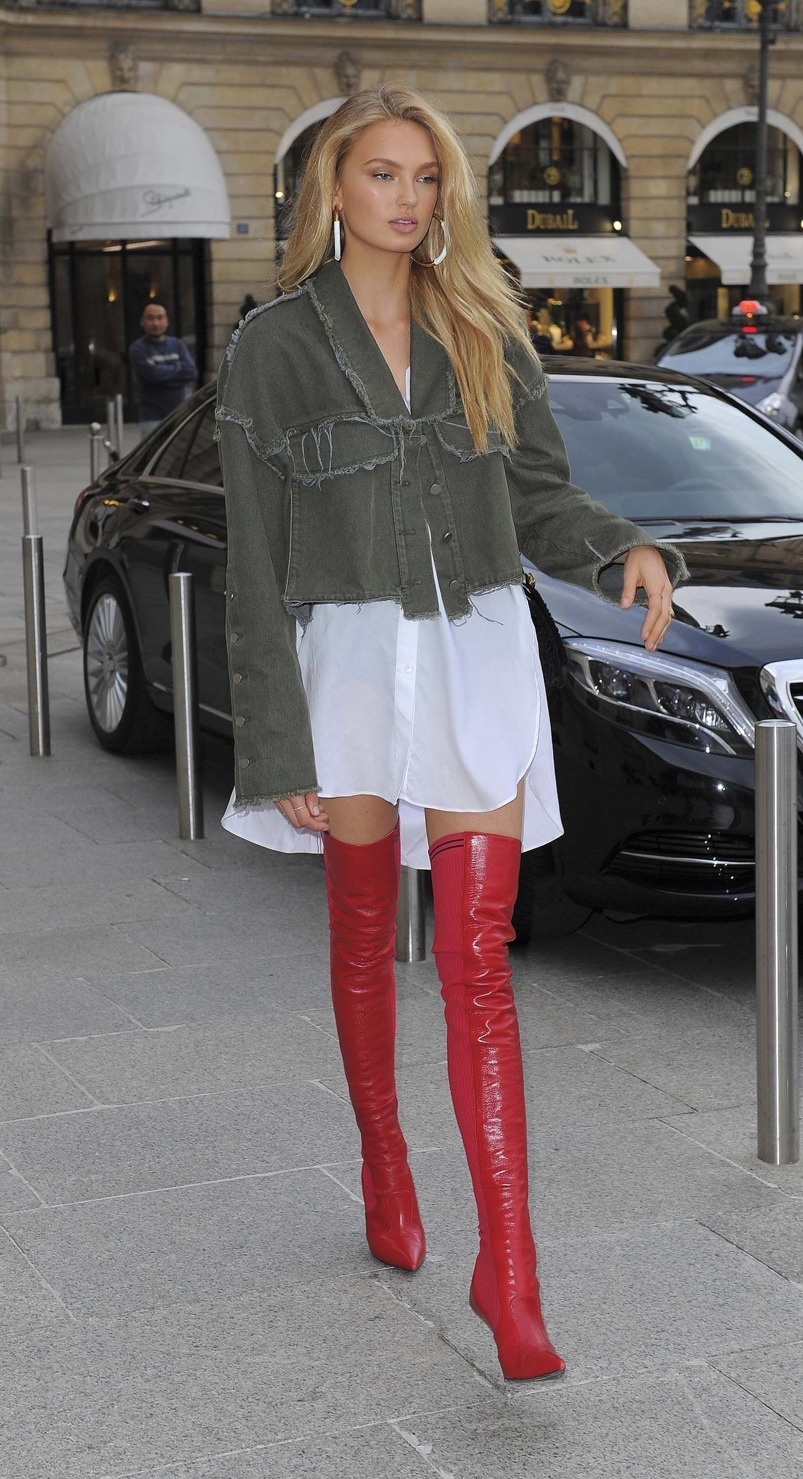 06f8714cc75 Red thigh high boots on bare legs combined with a white shirt dress   thighhighboots