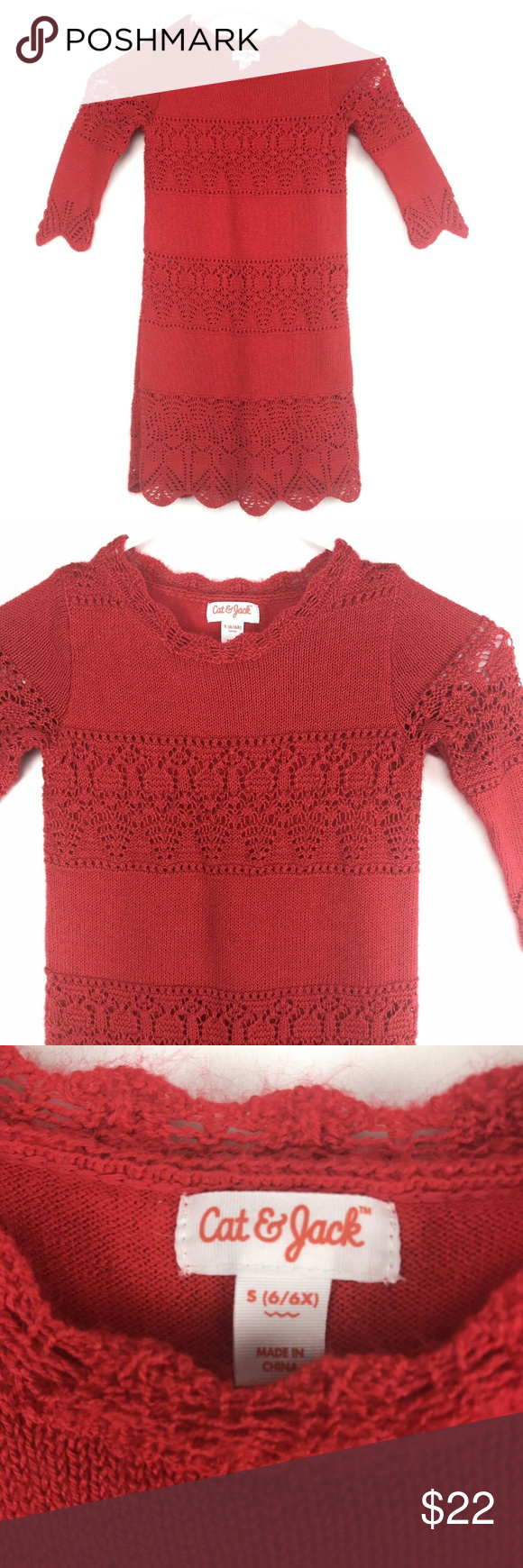 Cat Jack Girls Red Knit Sweater Dress Size 6 6x Red Knit Sweater Knit Sweater Dress Sweater Dress [ 1740 x 580 Pixel ]