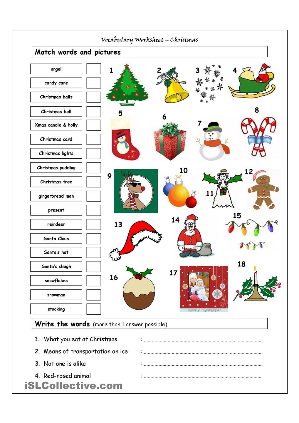 Vocabulary Matching Worksheet Xmas CHRISTMAS – Printable Christmas Worksheets
