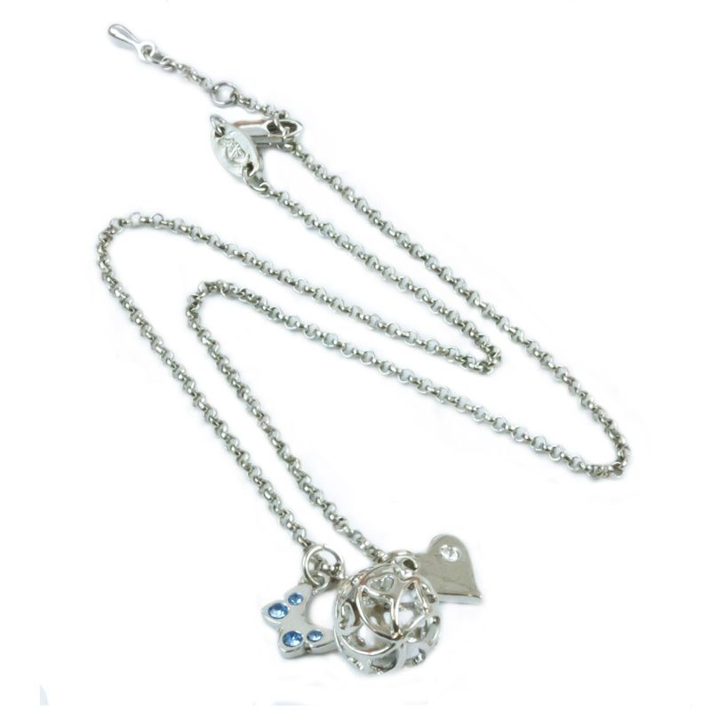 AN0014 - Rhodium plated necklace with butterfly and heart charms  www.annabellewalker.com