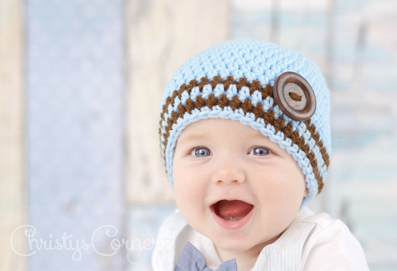 Beanie hat Newborn Baby hat 6-12-Stripe and Baby Blue Baby shower gift Baby shower Newborn gift Baby girl Baby beanie 3-6 Baby boy