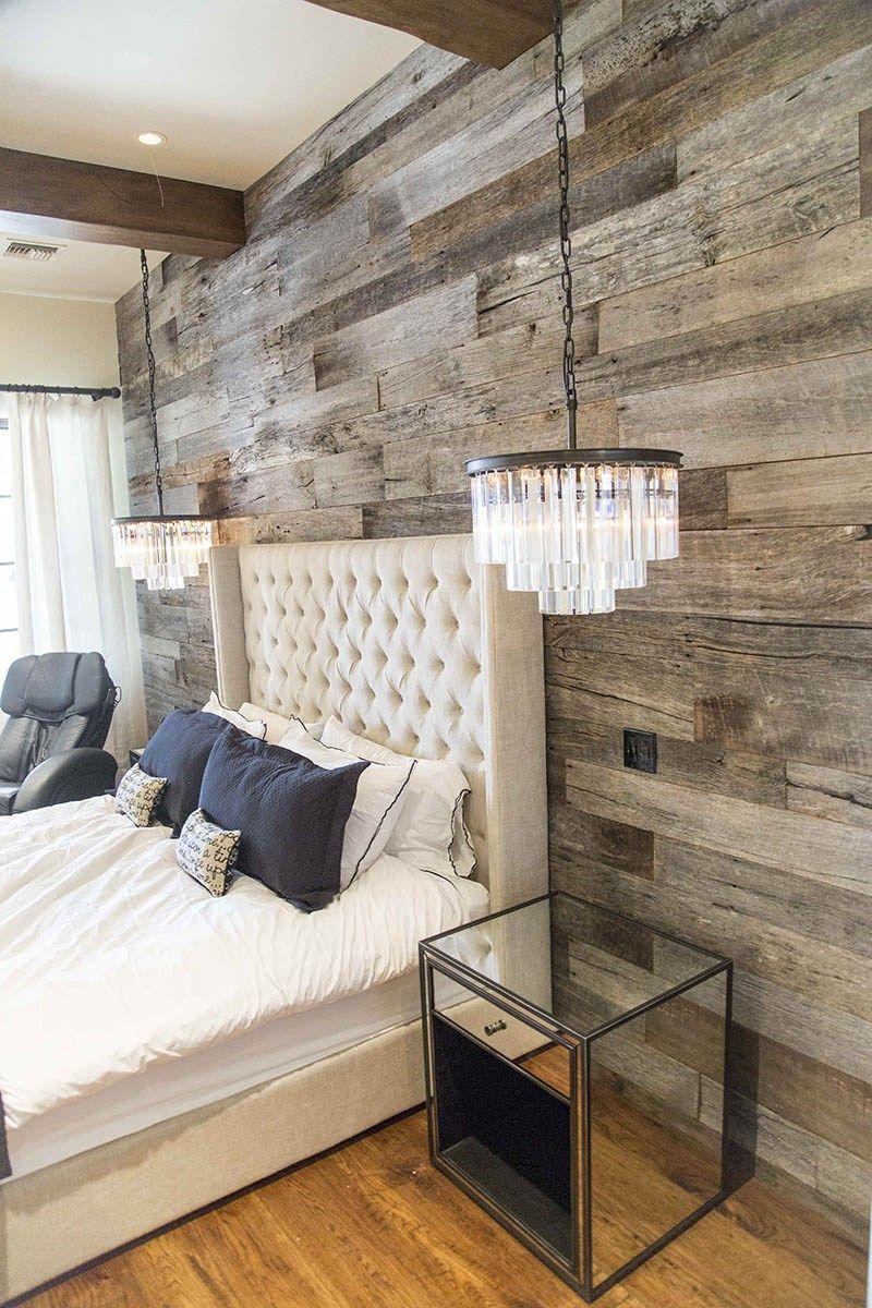 PBW Tobacco Barn Grey Wood Wall Master Bedroom Rustic