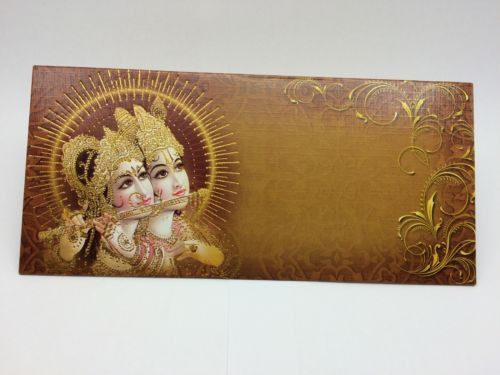 2 X Shri Krishna Radha Beautifully Decorated Gift Money Envelopes Wedding