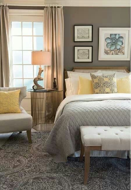 Yellow grey combo for BR | Guest room design on Comfy Bedroom Ideas  id=14416