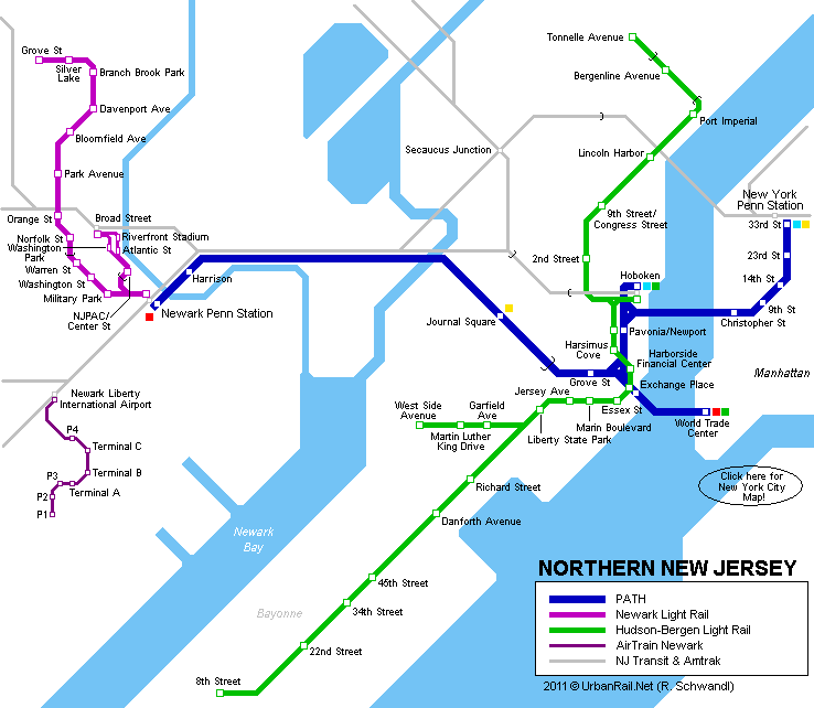 Map Of New York Suburbs.Light Rail And Rapid Transit Lines In Northern New Jersey Suburbs Of