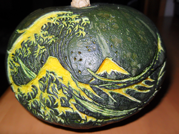 The Great Wave off Kanagawa was just entered into the Annual Pumpkin Carving Contest. Why not submit your carved pumpkin today? #pumpkincarving #halloween