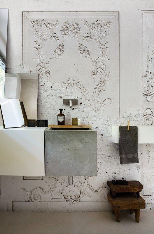 Images On Vintage plaster wallpaper wall mural in a bathroom design Unique Bathroom Ideas u Decor