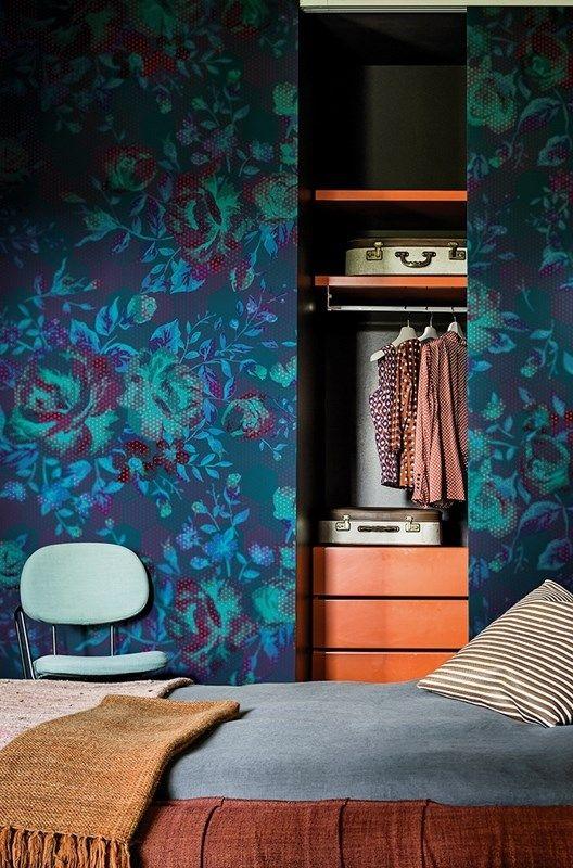 Sliding Doors With Wallpaper Matching Walls A Secret Closet In A