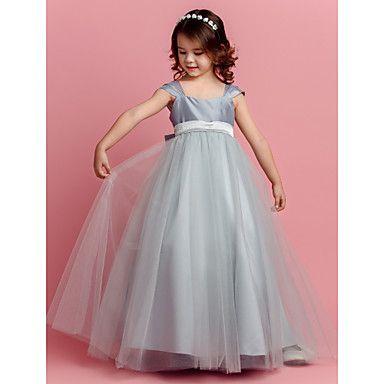 Lanting+noiva+®+vestido+de+baile+vestido+longo+menina+de+flor+-+de+tafetá+/+praça+de+tule+com+arco+(s)+/+faixa+/+fita+–+BRL+R$+236,57