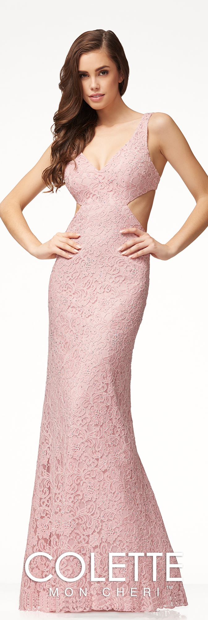 Sexy Fitted Lace Cut Out Prom Dress - Colette for Mon Cheri - CL18259