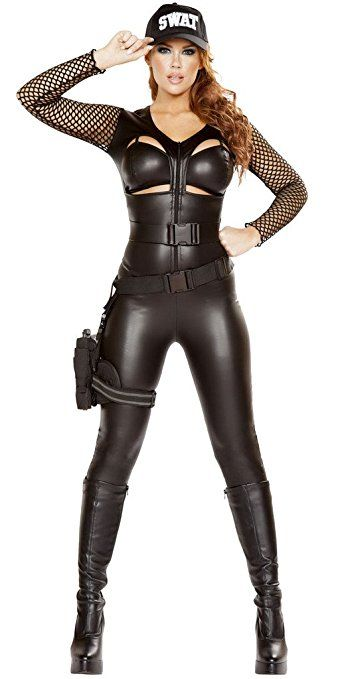 Back To Search Resultshome Beautiful Free Shipping Adult Woman Halloween Costumes Swat Jumpsuit Catsuit For Secret Service Women Sexy Lingerie Policewomen