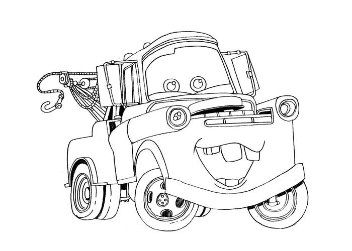 Drawing Of Cartoon Mator Mater Coloring Pages Lightning