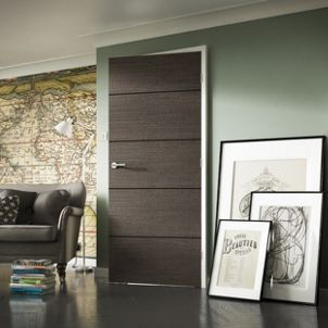 Wickes Milan Charcoal Grey Real Wood 5 Panel Internal Door 1981mm