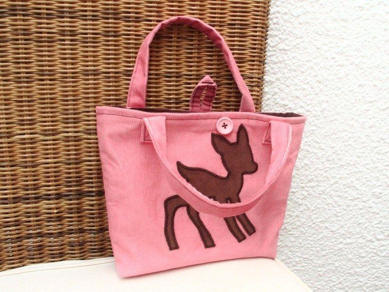 """Bambi """"Shopper"""" für Mädls    Kindertasche    ♥♥    eine Augenweide dieser Shopper ♥♥♥    mit zwei Henkel und Knopf zum schließen ♥♥♥    rosa Feinco..."""
